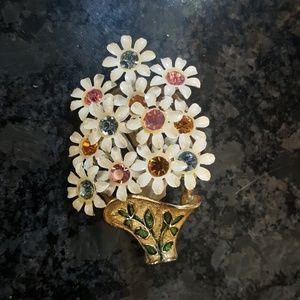 Vintage flower pot brooch